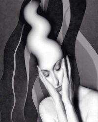 Metaportraits - donna che pensa  /  © Franco Donaggio, all rights reserved